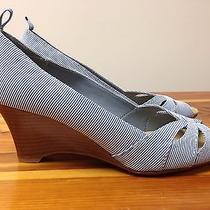 Gap Blue & White Striped Cloth Peep-Toe Wedges Women's Size 7 Photo