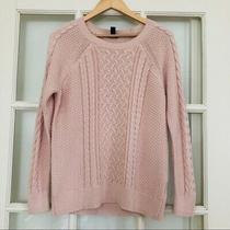 Gap Blush Pink 100% Cotton Cable Knit Sweater Large Photo