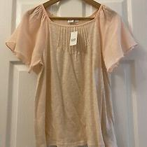 Gap Bnwt Blush Angel Sleeve Top Rrp 29.95 Size Xs Pintuck Detail Front and Back Photo