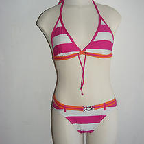 Gap Body Medium Triangle Halter Bikini Top and Bottoms Pink White Orange Stripe Photo