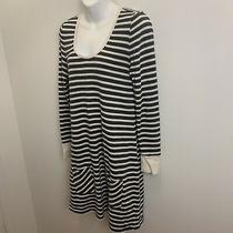 Gap Body Sweatshirt Dress Womens Size Medium Gray and Cream Striped Photo