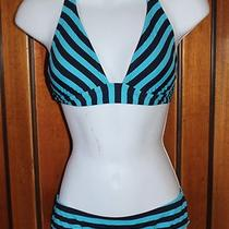 Gap Body Swimwear Sm Tie Halter Top Medium Lined Bottoms Blue Strip Bikini Cute Photo
