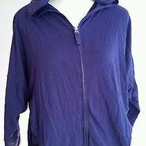 Gap Body Women Small Petite Top Purple Dolman Sweatshirt Hood Zip Front  Photo