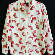 Gap Boyfriend Fit Floral Print White Button-Up Shirt Size Xs Photo