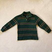 Gap Boys Half Zip Striped Pullover Sweater Xs 4-5 Green Navy Yellow Preppy Photo
