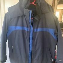 Gap Boys Nylon Hooded Jacket Fleece Lined Navy Blue Size Medium 7/8 Photo