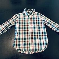 Gap Boys Plaid Button Up Shirt Small 5/6 Blue/green/white Long Sleeve Euc Photo