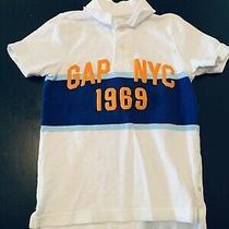 Gap Boys Polo Shirt Small Size 6-7 White/blue/orange Short Sleeve Euc Photo
