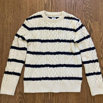 Gap Boys Pullover Sweater Wool Blend Cream Blue Striped Large Photo