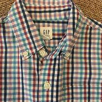 Gap Boys  Red Blue Green Pink Gingham Plaid Button Down Shirt Size 6-7 Photo