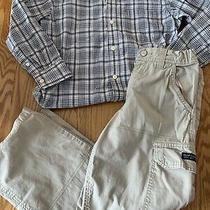 Gap Boys Size 7 - 8 Button Down Shirt & Khaki Cargo Pants Outfit Photo