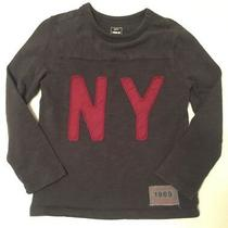 Gap Boys Size Xs Knit Shirt Grayish Brown With Maroon Ny Lettering Photo