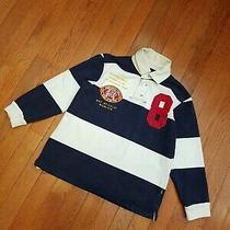 Gap Boys Small Polo Shirt Striped Top Boy Long Sleeve S Navy White 6 7  Photo