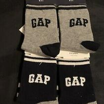Gap Boys Socks Size 2-3 Years  Gray/ Navy 4 Pairs Nwt Photo