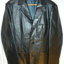 Gap Brand Black Cowhide Leather Blazer Jacket Sz Small (38-40) Photo