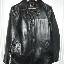 Gap Brand Black Heavy Cowhide Leather Car Coat Sz Xs (38) Photo