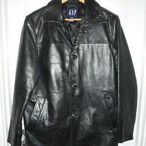 Gap Brand Black Heavy Cowhide Leather Car Coat Sz Xs (38) Photo