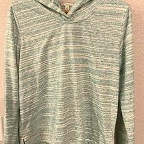 Gap Brand Womens Hooded Soft Cotton Green Striped v-Neck Pullover- Hoodie Medium Photo