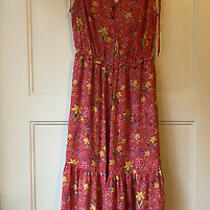 Gap Bright Pink Floral Midi Dress Size Small v-Neck Button Up Ruched Strap Photo