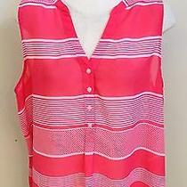 Gap Bright Pink Print Sheer Button Front Sleeveless Top - Size Xl - Mint Photo