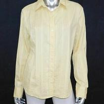 Gap Bright Yellow Textured Stretch Button Front/cuffs Collared Blouse Sz Xl Photo