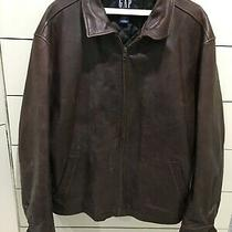 Gap Brown Leather Zip Bomber Motorcycle Jacket Coat Quilted Lining Mens Xl Vtg Photo