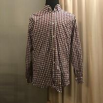 Gap Burgundy White Check Long Sleeve Non-Iron  Button Up Dress Shirt 17  17.5 Xl Photo