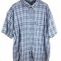 Gap Button Up Shirt Mens 2xl 2x-Large  Blue Plaid Short Sleeve Cotton Pockets Photo