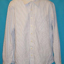 Gap Classic Mens Sz Xl Button Down Blue White Striped Cotton Dress Shirt  Photo