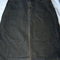 Gap Classic Stretch Denim Skirt Below the Knee Front Slit Size 10 Photo