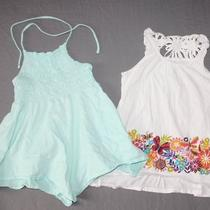 Gap Coastal Aqua Halter Hanky Swing Top Tcp White Crochet Tank Summer Lot 6 7 G Photo