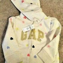 Gap Coat Hoodie Sweatshirt Gap Kids Beige With Gold Logo Hearts Stars Nwt 30 3 Photo
