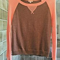 Gap Coffee/orange Nylon/wool/acrylic Sweater With Fishnet Ls Xs Petite Photo