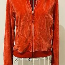Gap Coral Red Velour Feel Zip Up Cardigan Jecket Top With Stretch Size Xs Photo