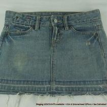 Gap Cotton Denim Blue Jeans Frayed Hem Micro Mini Skirt Womens Sz 0 Sicx Photo