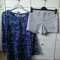 Gap Cotton nude&navy Stripe shorts&blue&black Sheer Animal Print Beach Cover Up Photo