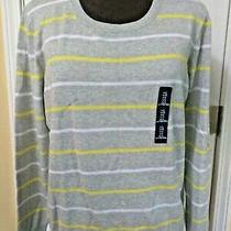 Gap Cotton Sweater Top L Grey Striped Long Sleeve Jersey Scoop Neck Nwt  45 Photo