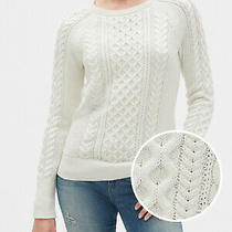 Gap Cream Ivory Cable Knit Crewneck Sweater Nwt Large Photo
