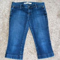 Gap Cropped Capri Jeans Sz 8 Ultra Low Rise Stretch Straight Leg Flap Pocket Photo