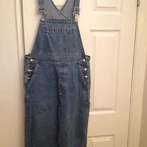 Gap Cropped Denim Overalls Womans Medium Boho Bib Grunge Vtg Distressed Romper Photo