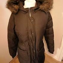 Gap Dark Brown Down Feather Puffa Parka Coat With Faux Fur Hood Size S 8 10 Photo