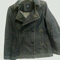 Gap Dark Denim Pea Women's Coat Xs Double-Breasted Made in India Excellent Photo