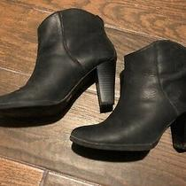 Gap Dark Navy Leather High Heeled Booties Ankle Boots 7 Photo