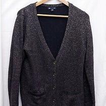 Gap Dark True Navy Blue Long Sleeve Button Down Cardigan Sweater Women's Large Photo