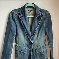 Gap Denim Blue Jeans Distressed Fitted Blazer Ladies Size Small Euc Photo