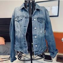 Gap  Denim Button Down Factory Distressed Jacket Womens Size L Photo