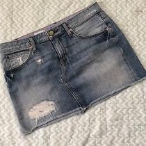Gap Denim Skirt Distressed Medium Blue Zip Fly Womens 26/2 Photo