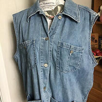Gap Denim Vest Size Large Euc Light Wash Pockets Riveted Photo