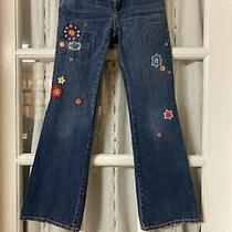 Gap Denium Gapkids Emroidered Jeans Size 8  Gently Used Adjustable Waistband Photo