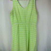 Gap Designed & Crafted L Green Diamond X Print Sleeveless Blouson Rayon Dress Photo